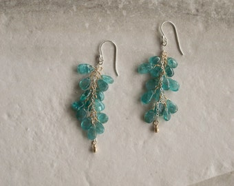 sterling silver and 14k gold fill blue teal apatite gemstone cluster earrings