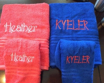 Monogrammed  bath towel- personalized towels- you can put a name or initials