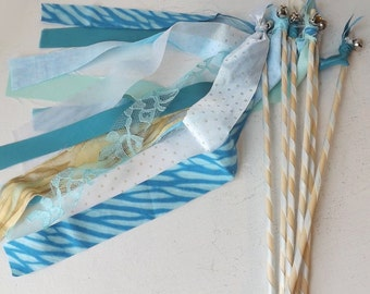 Mermaid Party Favors, Set of 12, Under The Sea Birthday Decor, Fabric Streamer Bell Wands, Wedding Send Off, Photo Prop, Beach Party