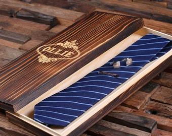 Personalized Tie Box, Cuff Links & Tie Clip Boyfriend Gift, Groomsmen Gift for Men Christmas (025220)