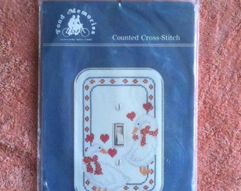 Fond Memories Country Goose Switchplate Counted  Cross Stitch Kit Home Decoration Designer Wall Plate Deserdog Destash  b45