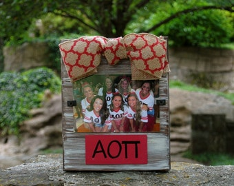 Alpha Omicron Pi Whitewashed Rustic Frame With Greek Letters