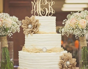 Personalized Cake Topper - Wooden Cake Topper - Monogram Wooden Cake Topper - Wedding Cake Topper