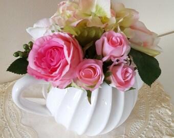 Teapot with Silk Flowers, Pink Roses, Hydrangea - Wedding Centrepiece, Flowers for Mum, Keepsake Artificial Flowers