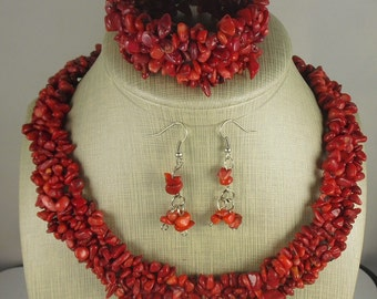 Red Bamboo Coral Chip Necklace, Bracelet, Earrings