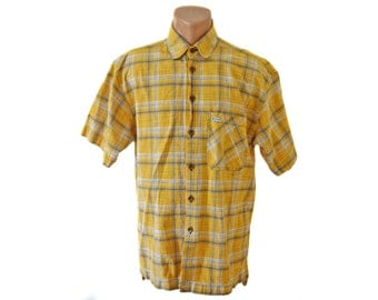 Vintage Off Shore ® shirt men yellow short sleeves