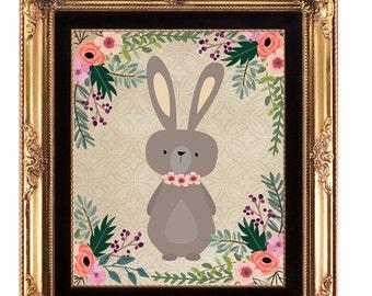 nursery printable, printable wall art,  bunny printable, nursery rabbit print, rabbit wall decor, nursery decor, woodland printable, 8x10