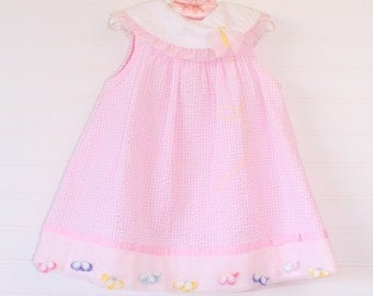Vintage baby dress pink and white gingham with butterfly detailing, Youngland sz 24 mo WITH bloomers
