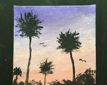 LA Sunset Mini-Canvas Painting
