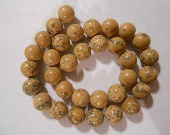 "15.5"" natural GRAINSTONE grain stone MARBLE 12mm round SToNE BEADS"