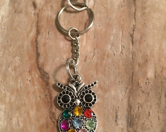 Colored Stone Owl Key Chain/Purse Charm Gift