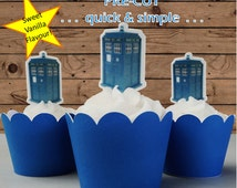 12x Doctor Who tardis EDIBLE wafer stand up toppers PRE-CUT