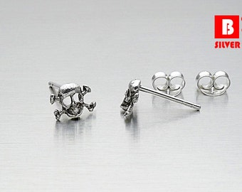 925 Sterling Silver Oxidized Earrings, Skulls Earrings, Stud Earrings (Code : EG34)