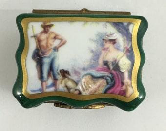 Limoges France Porcelain Handpainted Trinket Box