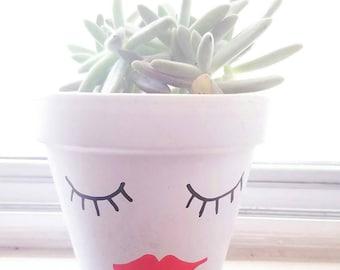 Eyelashes and Lips Painted terra  cotta Pot