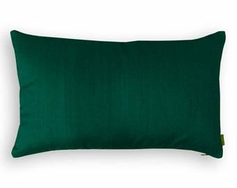 "Silk pillow, dark green color,  lumbar pillowcover, size 12""X20"""