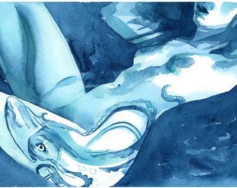 "Female Form, Signed Giclée Art Print by Vanessa Walsh, ""Blue Girl"", Sensual Nude, Colourful Art Print, Sensual Art."