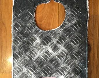 Handmade baby feeding bib boys funky checkerplate fabric