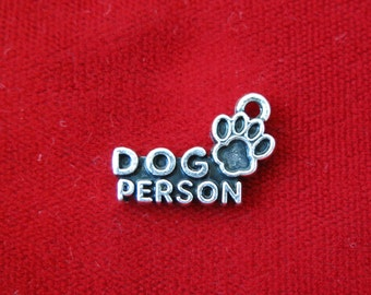 """5pc """"Dog person"""" charms in antique silver (BC793)"""