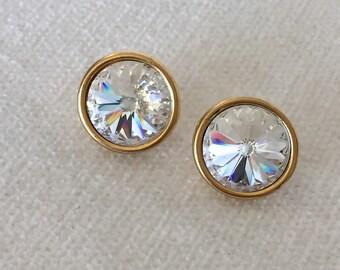 Clear rivoli earrings