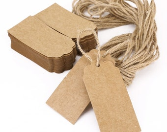 100pcs Brown Kraft Paper Hang Tags Gift Price Party Wedding Label Cards + 20m string [1655]