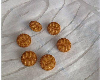 Vintage Set of 6 Round Mustard Buttons, Concealed Thread Holes, Glossy Embossed Ripple Effect Pattern,
