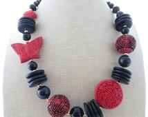 Cinnabar necklace, red chunky necklace, black onyx necklace, bold necklace, beaded necklace, oriental jewelry, stone choker gemstone jewelry