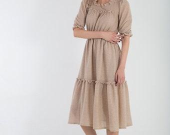 knitted dress, mohair lurex dress, midi dress, ruffle dress, beige wool dress, midi wool dress