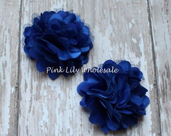TWO Mini Satin Mesh Flowers - TWO Royal Blue - Small Flower - Craft Flower - Wholesale Flower - Craft Supplies -DIY