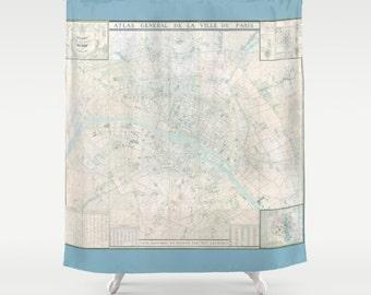 Paris Map Shower Curtain - Atlas de Paris, France - Pastel, blue aqua,  French Travel Inspired  Home Decor,  cottage chic Bathroom