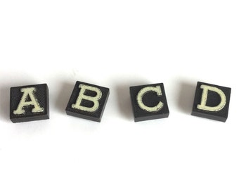 Set of 3 Letter Initial Magnets in Black and White Made from Vintage Game Pieces Tiles Squares - Word Alphabet Fridge or Office Magnets