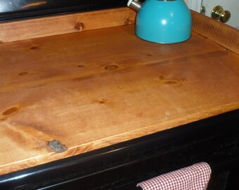 Hand Crafted Rustic Primitive Country American Walnut Stove Cover Noodle Dough Board Wood Kitchen Decor Display Unique