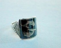 Nielloware Vintage Sterling Ring Antique 1940 Siam Lucky Pisces Fish Rare Design Collectible Adjustable Size