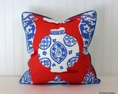One or Both Sides - ONE Dana Gibson Canton Persimmon-Blue Pillow Cover with Self Cording