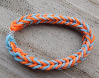 Orange and Light Blue Fishtail Pattern - Rubber Band Bracelet