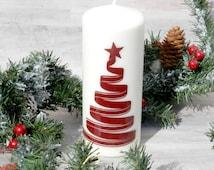 Christmas Tree Candle - Red Christmas Candle - Christmas Candle Centerpiece - Red Christmas Tree Candle - Elegant Christmas Candle