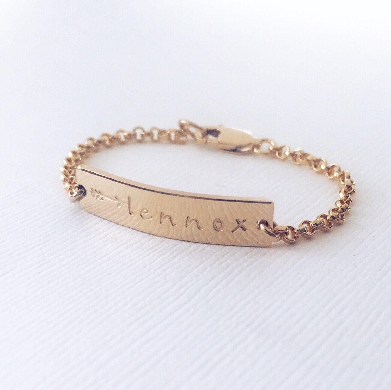 personalized baby bracelet gold rose gold or silver bar. Black Bedroom Furniture Sets. Home Design Ideas