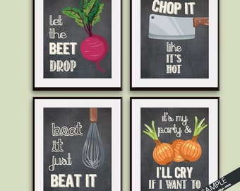 Beet Drop, Chop it, Beat it, Cry if I want (Funny Kitchen Song Series) Set of 4 Art Prints (Featured in Vintage Chalkboard) Kitchen Art