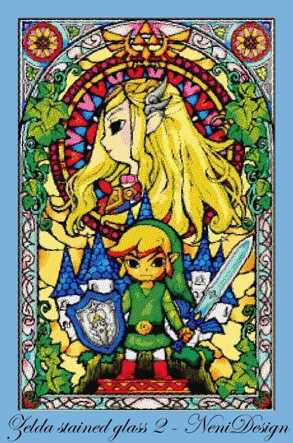 The Legend Of Zelda Nintendo Stained Glass 6 Cross Stitch