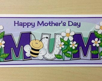Purple Mothers Day Card * Happy Mothers Day * Card For Mum * Mothering Sunday * Handmade Card * Floral Mothers Day Card * Mothers Day Card *