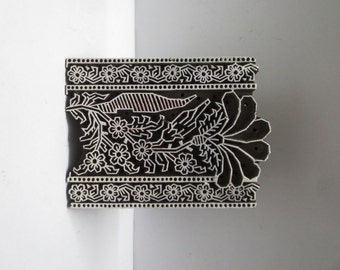 Indian wooden hand carved textile printing fabric block / stamp fine detailed carving Floral design pattern
