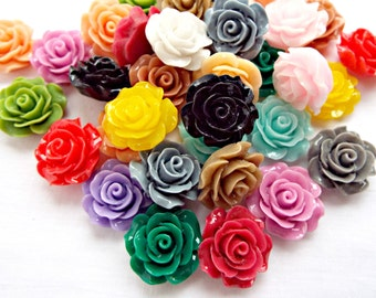 200 Flower Cabochons, 20mm Rose Cabochons, Mixed Colors, Flatback Cabochon, Cell Phone Deco, Craft Supplies, Jewelry Supplies, UK Seller