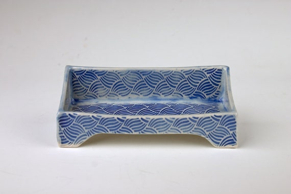 Handmade ceramic business card holder blue slab built for Ceramic business card holder