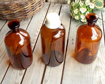 Amber Apothecary Bottle Set - 3 Vintage Brown Glass Containers - Apothecary Jar - 1 Liter - Merck - Prolabo - Home Decor