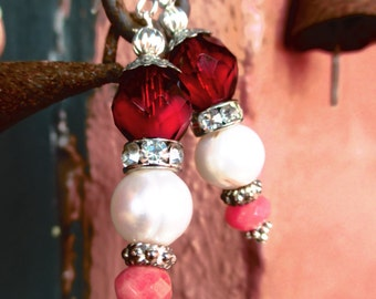 Red Czech Glass and White Pearl Earrings with Peachy Jade Gemstones