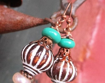 Handmade Earrings With Etched Antiqued Acrylic Fluted Round And Freshwater Beads