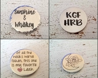Custom Engraved 1.25 in Pewter Pocket Token | 2 Sided Engraved Pocket Coins | 2mm thick | Personal Message | Custom Engraved Coin