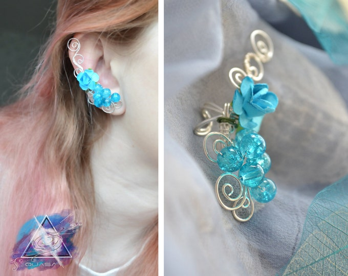 Ear cuff with turquoise flower | summer jewelry, summer ear cuff, fairy ear cuff
