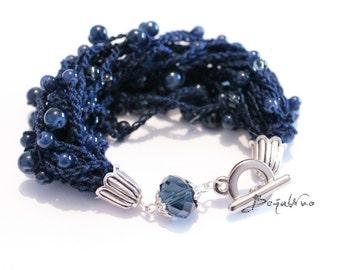 Multi strand bracelet Beaded bracelet Blue bracelet Statement bracelet Glass bead bracelet Chunky Bracelet Crochet bracelet Soft bracelet