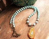 """30"""" Long Amazonite bead necklace copper boho mothers gift Druzy geode necklace spring gifts spring trends"""